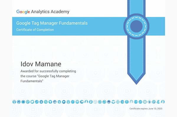Certification Google Tag Manager Fundamentals